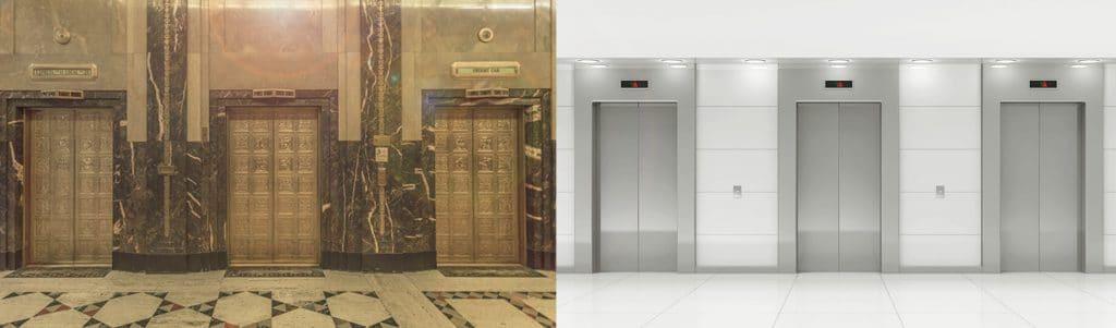 Comparação de elevadores apresentando a modernização de elevador
